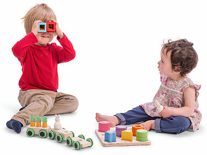 Sensory Shapes Blocks with Boy & GIrl