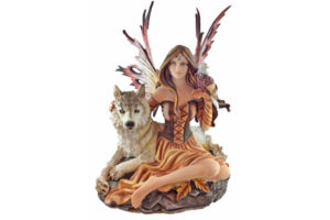 Forest Fairy with Wolf and Eagle