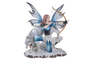 Blue Hunter Fairy with Bow & Arrow and Wolf
