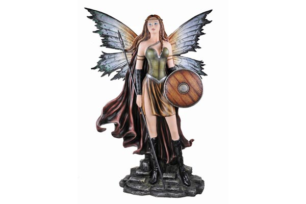 Warrior Fairy with Wooden Shield & Spear