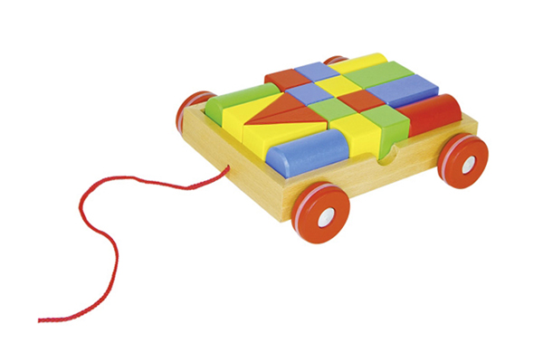 GOKI PULL-ALONG CART WITH 18 BUILDING BLOCKS